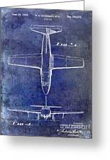 1949 Airplane Patent Drawing Blue Greeting Card