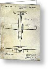 1949 Airplane Patent Drawing Greeting Card