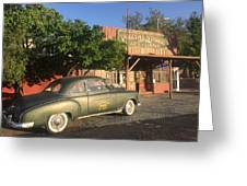 1950 Chevrolet Coupe In Front Of Portal Store Greeting Card