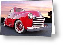 1950 Chevy Pick Up At Sunset Greeting Card