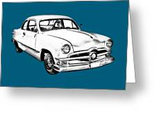 1950  Ford Custom Antique Car Illustration Greeting Card