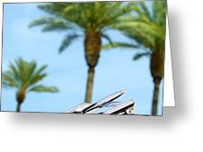 1950 Oldsmobile Rocket 88 Convertible Hood Ornament And Palms Greeting Card