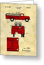 1950 Red Firetruck Patent Greeting Card