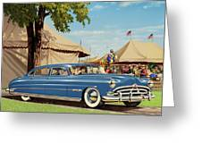 1951 Hudson Hornet - Square Format - Antique Car Auto - Nostalgic Rural Country Scene Painting Greeting Card