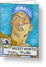 1952 Mickey Mantle Rookie Card Original Painting Greeting Card by Joseph Palotas