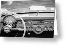 1954 Chevrolet Corvette Steering Wheel -368bw Greeting Card