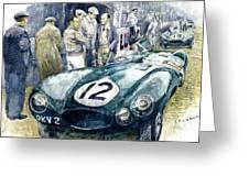 1954 Le Mans 24 Jaguar D Type Short Nose Stirling Moss Peter Walker  Greeting Card