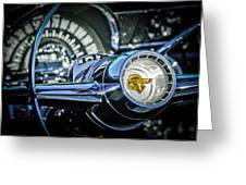 1955 Pontiac Star Chief Steering Wheel Emblem -0103c Greeting Card