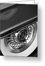 1956 Cadillac Eldorado Wheel Black And White Greeting Card