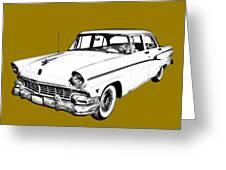 1956 Ford Custom Line Antique Car Illustration Greeting Card