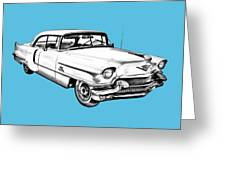1956 Sedan Deville Cadillac Car Illustration Greeting Card