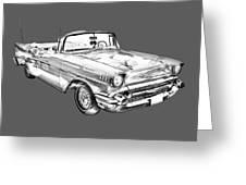 1957 Chevrolet Bel Air Convertible Illustration Greeting Card