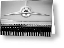 1957 Pontiac Safari Emblem -0737bw Greeting Card