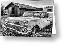 1958 Chevy Del Ray In Black And White Greeting Card