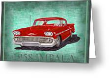 1958 Impala By Chevrolet Greeting Card