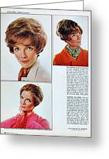 1960 70 Stylish Female Hair Styles Brown Mature Lady Greeting Card