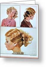 1960 70 Stylish Female Hair Styles Golden Blond Greeting Card