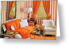 1960 70 Stylish Living Room Advertisement Orange And Stripes Groovy Baby Greeting Card
