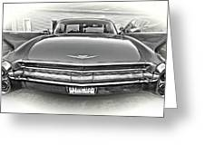 1960 Cadillac - Vignette Bw Greeting Card