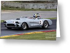 1960 Chevy Corvette At Road America Greeting Card