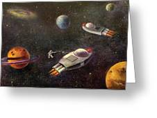 1960s Outer Space Adventure Greeting Card