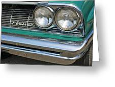 1961 Pontiac Catalina Grille With Headlights And Logo Greeting Card