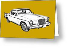 1961 Studebaker Hawk Coupe Illustration Greeting Card