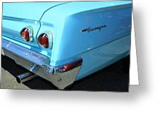 1962 Chevy - Chevrolet Biscayne Logos And Tail Lights Greeting Card