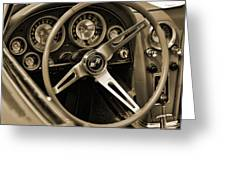 1963 Chevrolet Corvette Steering Wheel - Sepia Greeting Card