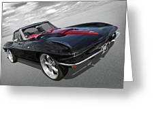 1963 Corvette Stingray Split Window In Black And Red Greeting Card