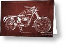 1963 Triumph Bonneville, Blueprint Red Background Greeting Card