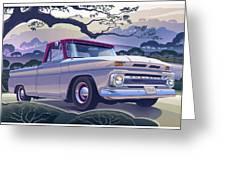 1964 Chevrolet Short Bed Custom Half Ton In The Morning Mist Greeting Card