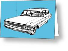 1964 Ford Galaxy Country Stationwagon Illustration Greeting Card