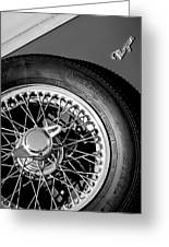 1964 Morgan 44 Spare Tire Black And White Greeting Card