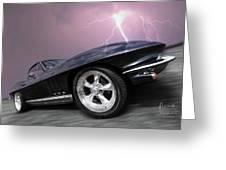 1966 Corvette Stingray With Lightning Greeting Card