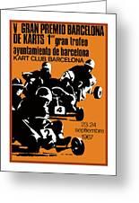 1967 Barcelona Kart Racing Poster Greeting Card