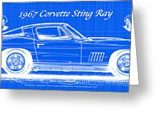 1967 Corvette Sting Ray Coupe Reversed Blueprint Greeting Card by K Scott Teeters