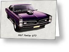 1967 Purple Pontiac Gto Greeting Card