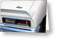 1968 Chevy - Chevrolet Camaro Tail Lights And Logo Greeting Card
