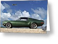 1968 Ford Bullitt Mustang Gt 390 Fastback, P-51 Mustang, Plymouth Rock Chicken Greeting Card