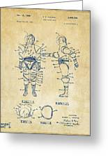 1968 Hard Space Suit Patent Artwork - Vintage Greeting Card
