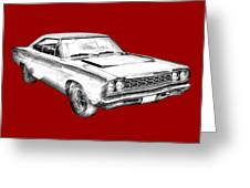 1968 Plymouth Roadrunner Muscle Car Illustration Greeting Card