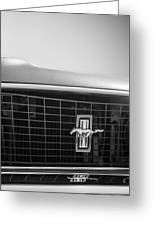 1969 Ford Mustang Grille Emblem -0133bw Greeting Card