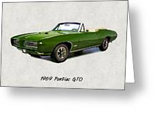1969 Green Pontiac Gto Convertible Greeting Card