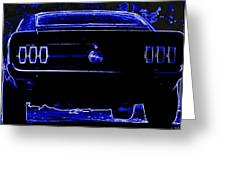1969 Mustang In Neon 2 Greeting Card