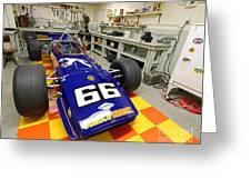 1969 Penske Indy Car In Garage Greeting Card
