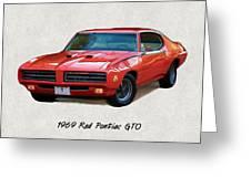 1969 Red Pontiac Gto The Judge Greeting Card
