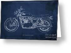 1969 Triumph Bonneville Blueprint Blue Background Greeting Card