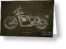 1969 Triumph Bonneville Blueprint Brown Background Greeting Card