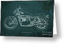 1969 Triumph Bonneville Blueprint Green Background Greeting Card